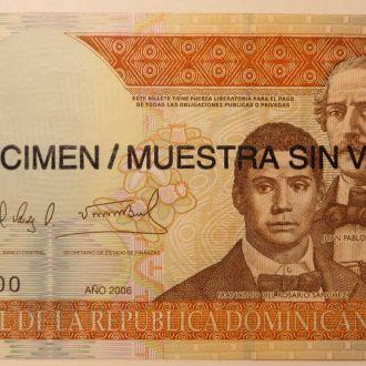 Доминикана 100 pesos oro 2006 P 177s UNC ОБРАЗЕЦ
