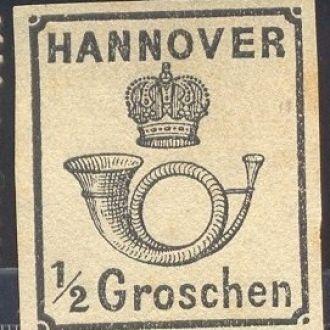 Почтовая марка Hannover 1/2 groschen,1860,№17 Mich