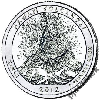 25 центов Гавайи Гавайские вулканы 2012 г.