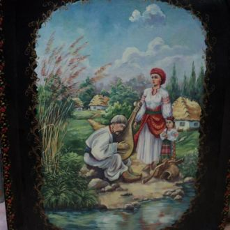 Поднос расписной, Картина, масло,Украина