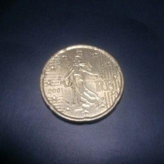 20 евро центов Франция 2001 год