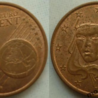 Франция 1 евроцент 1999, 00, 04
