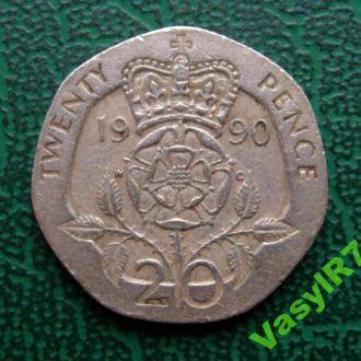 Великобритания 20 пенсов 1990 г.