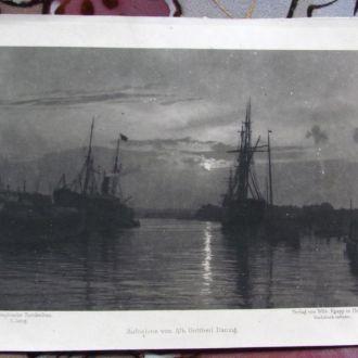 Литография 1896 г. Корабель . Hamburger Hafen