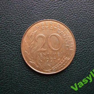 Франция 20 сантимов 1997 г.  Сохран!