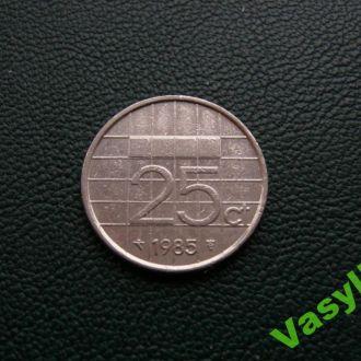 Нидерланды  25 центов 1985 г. Сохран!