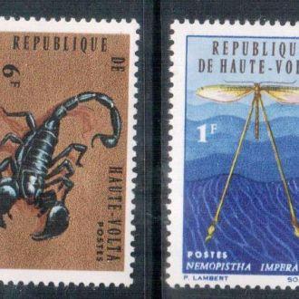 3 скана!!! Верхняя Вольта 1966 Фауна насекомые MNH