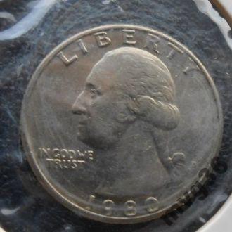 США,25 центов квотер,1980 год.