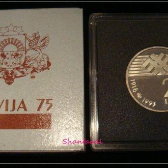 Shantal, Латвия 2 лата 1993, 75лет Латвийской Республике, UNC