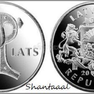 Shantaaal, Латвия 1 лат Совиная сакта, UNC, 2007
