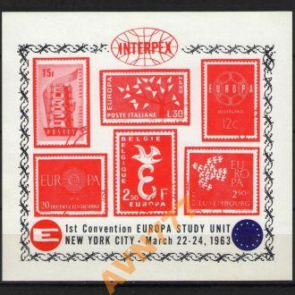 Непочтовые марки Европа 1963 фил выставка блок бз