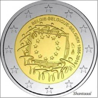 Shantaaal, Бельгия 2 евро 2015 30 лет Флагу