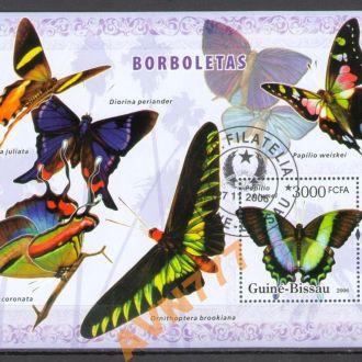 Гвинея-Бисау 2006 Насекомые тропические Бабочки бл