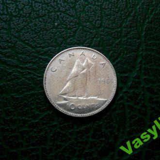 Канада 10 центов 1968 г Серебро! Сохран!
