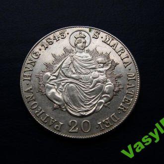 20 крейцеров крейцерів 1843 B Серебро! UNC!!!
