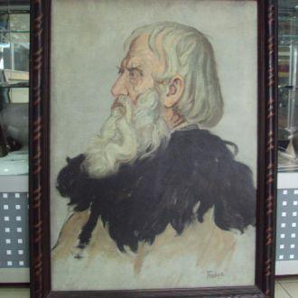 картина Портрет старого гуцула. Ярослав Пстрак картон, масло  в родной раме 57,5 х 77,5 см №228