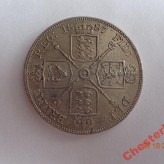 """Великобритания двойной флорин 1887 (Arabic """"1"""") Victoria серебро СУПЕР состояние очень редкая"""
