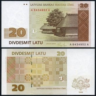 Latvia / Латвия - 20 Lati 1992 - серия А-А - UNC