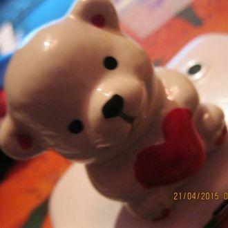 медведь сердце фарфор статуэтка мишка фигурка миша