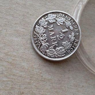 Германия 1/2 марки 1917 A серебро сохран !!