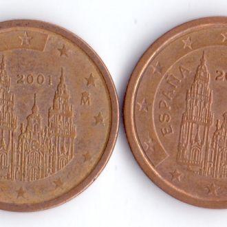 Испания Набір 2 Євроцент 2000+2001р. (2 монети)
