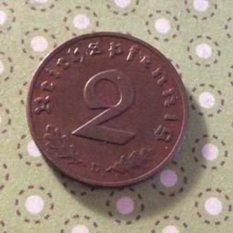 Германия монета 2 пфенинга 1937 год Третий Рейх D !