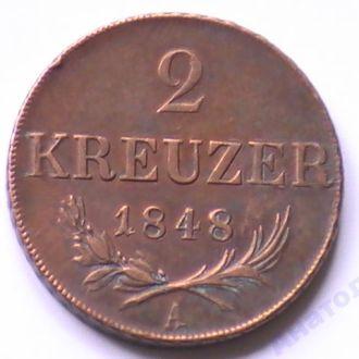 2 Крейцера 1848 г А Австрия 2 Крейцера 1848 р А