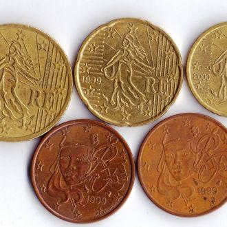 Франция Набір Євромонет (5 монет)