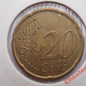 Испания 20 евроцентов 1999 состояние