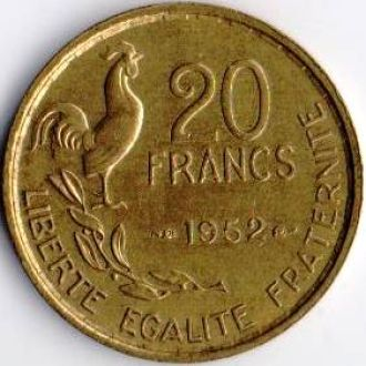 Франция 20 франків 1952р. Тип 2 - G.Guiraud !!!