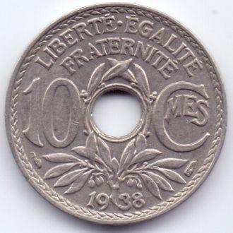 Франция 10 сантім 1938р.(дата без крапок)