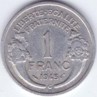 Франція 1 франк 1945р. Літера С. Нечаста. Стан!!!