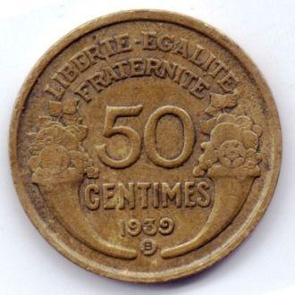 Франция 50 сантім 1939р. літера В. Нечаста.