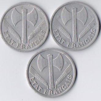 Франция 1 франк 1944 рік. (-; В;С) Набір 3 шт.Віші
