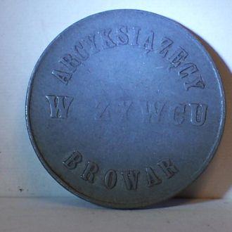 Жетон на пиво, Живец, Zywiec, Польша 1910-ые
