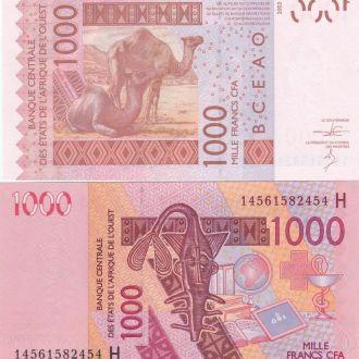 W Africa Зап. Африка Нигер 1000 Francs H 2014 UNC