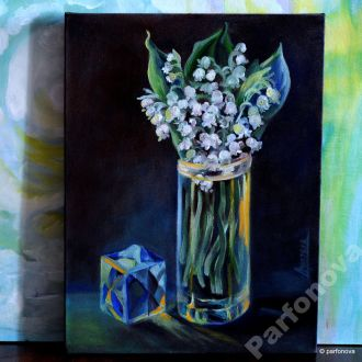 Картина масло холст ваза цветы яркие ландыши AYA