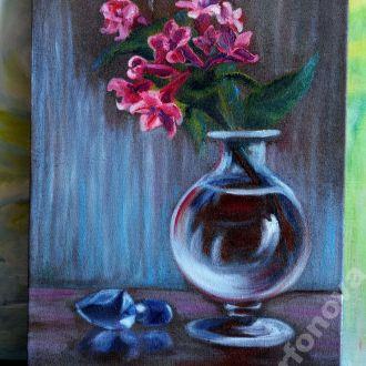 Картина масло холст ваза цветы орхидея колибри AYA