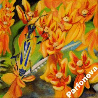 Картина масло холст освещающий путь к успеху цветы
