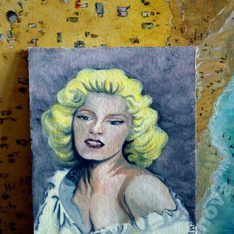 картина масло холст портрет шикарная Мерлин Монро