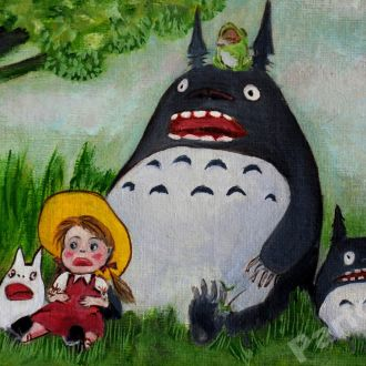картина масло холст Тоторо аниме мульт детская