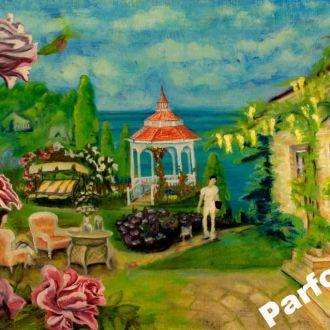 Картина масло холст 40х60 пара дача море розы AYA