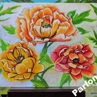 Картина масло холст сад росписные цветы Пионы AYA