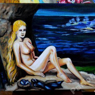 картина 007 остров Ню девушка пляж дайвинг море