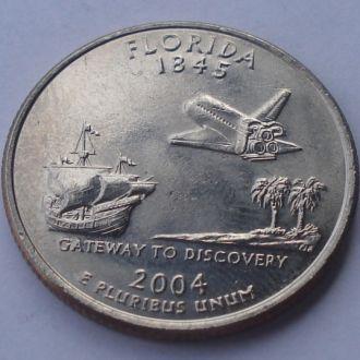 2004 г США 25 центов,Флорида,юбилейная