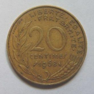 Франция 20 сантимов 1968 г.