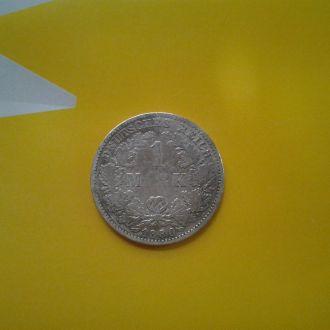 Германия 1 марка 1880 г.Серебро