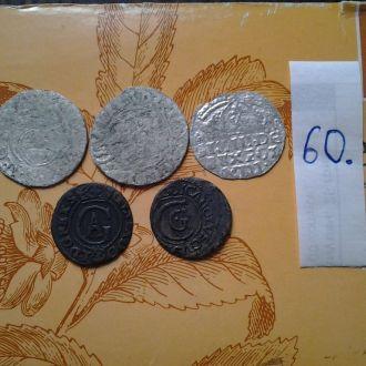Средневековые монеты 5 штук. Серебро.Нечищенные