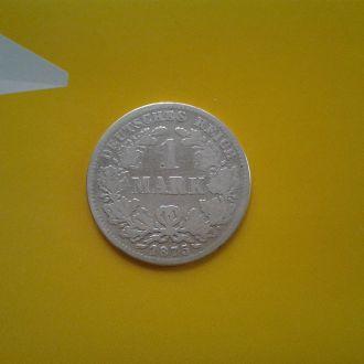Германия 1 марка 1875 г. (G).Серебро