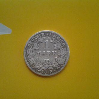 Германия 1 марка 1875 г. (C).Серебро